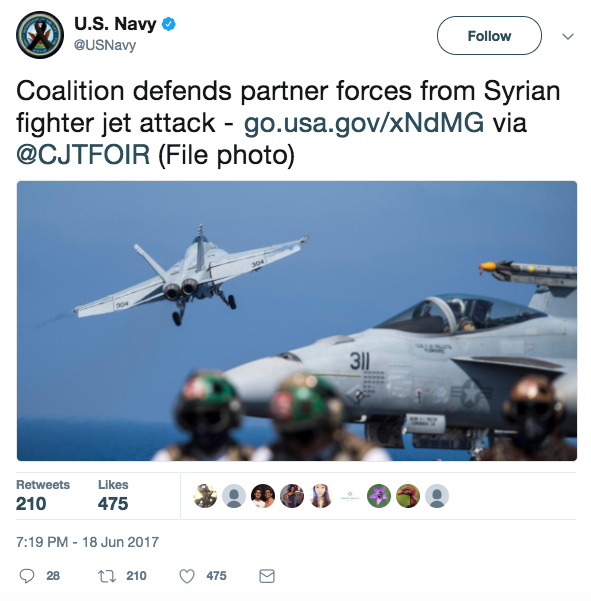 Screen Shot 2017 06 19 at 9.02.18 AM - US F/A-18E fighter jet shoots down a Syrian SU-22 fighter jet that was bombing US coalition partners; Russia lashes out