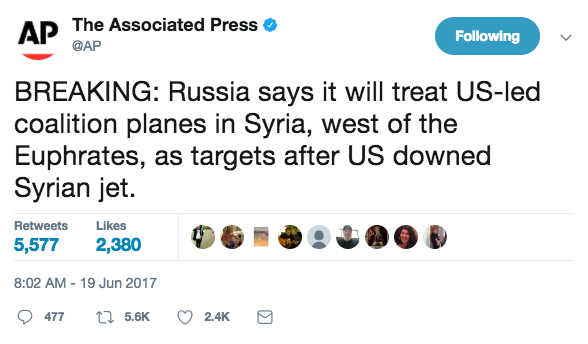 Screen Shot 2017 06 19 at 9.54.48 AM - Russia says it will now 'target' US aircraft and come after them, following downed Syrian jet