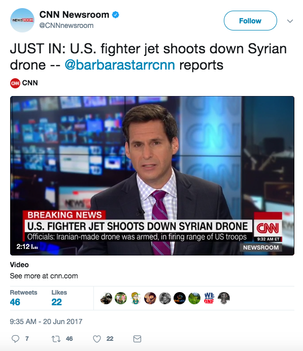 Screen Shot 2017 06 20 at 9.54.53 AM - US shoots down armed Iranian-made Syrian drone that was within shooting distance of American troops