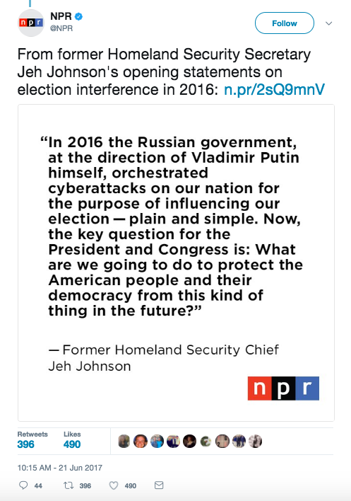 Screen Shot 2017 06 21 at 3.22.51 PM - Former head of US Homeland Security said Russia hacked the US, but it did not change Presidential election votes