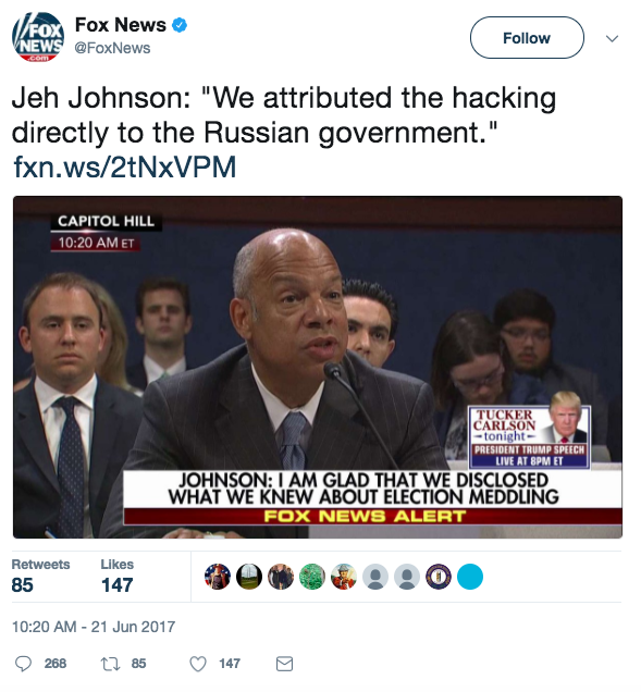 Screen Shot 2017 06 21 at 3.38.27 PM - Former head of US Homeland Security said Russia hacked the US, but it did not change Presidential election votes