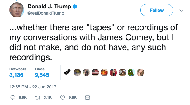 Screen Shot 2017 06 22 at 1.09.24 PM - The President says he has no 'tapes' of his conversations with former FBI Director James Comey