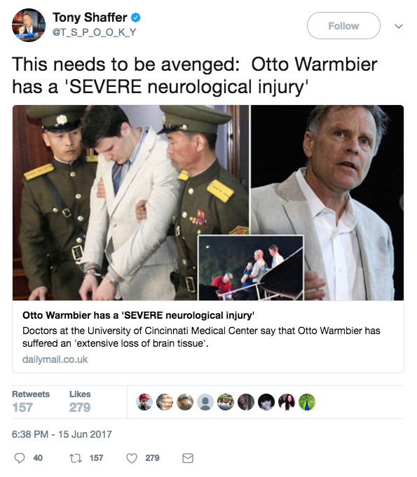 Screen Shot 2017 06 22 at 12.28.23 PM - Retired Army colonel says North Korea probably used drugs to torture American student Otto Warmbier