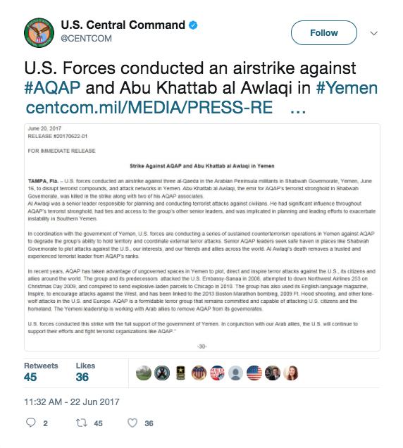Screen Shot 2017 06 22 at 2.58.03 PM - Yemen al Qaeda leader killed in US airstrike