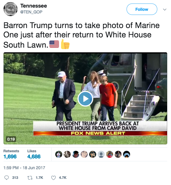 Screen Shot 2017 06 22 at 8.43.38 AM - Barron Trump & the Marine: Barron, impressed, snaps pictures of a Marine after exiting Marine One