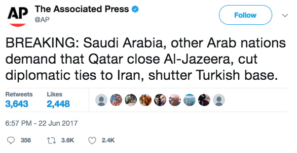 Screen Shot 2017 06 23 at 10.32.21 AM - Four Arab states demand that Qatar shut down Al Jazeera news network and cut ties with Iran, among other requests