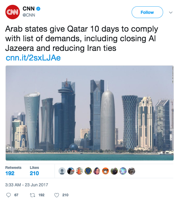Screen Shot 2017 06 23 at 10.32.34 AM - Four Arab states demand that Qatar shut down Al Jazeera news network and cut ties with Iran, among other requests