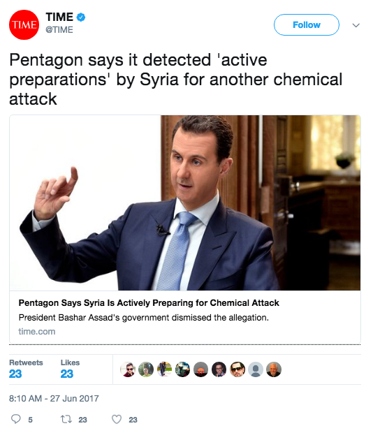Screen Shot 2017 06 27 at 11.24.35 AM - White House threatens action if Syria launches a chemical weapons attack; Syria denies the accusations