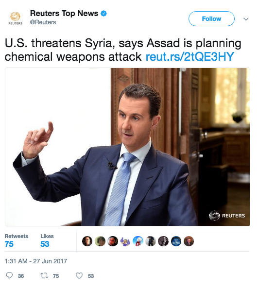Screen Shot 2017 06 27 at 11.48.11 AM - White House threatens action if Syria launches a chemical weapons attack; Syria denies the accusations