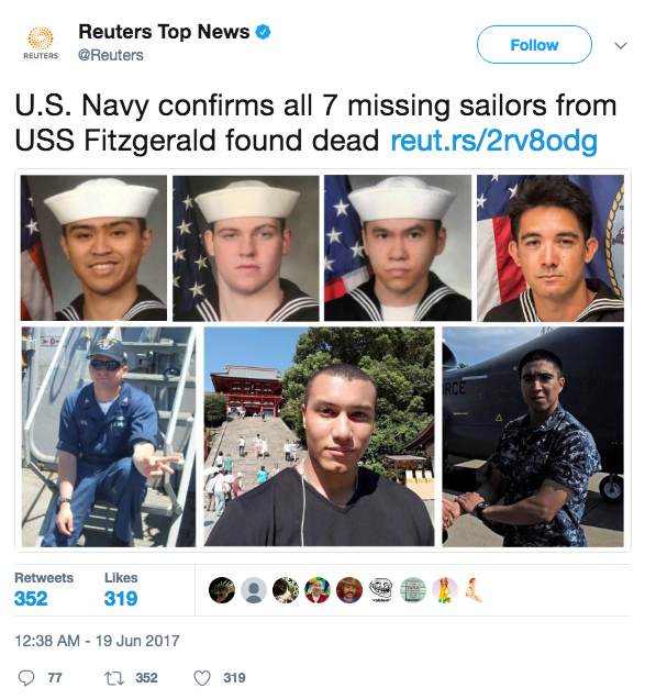 Screen Shot 2017 06 27 at 9.53.07 AM - News agencies push unverified report that blames USS Fitzgerald for deadly collision
