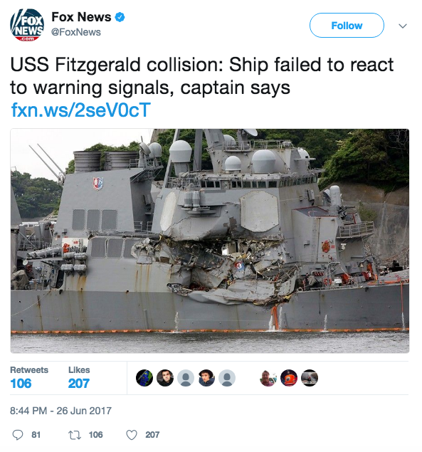 Screen Shot 2017 06 27 at 9.53.51 AM - News agencies push unverified report that blames USS Fitzgerald for deadly collision