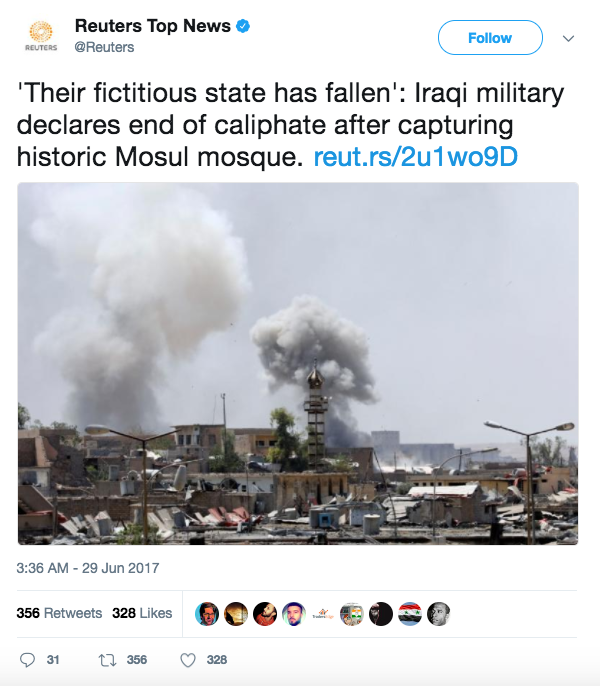 Screen Shot 2017 06 29 at 2.30.21 PM - ISIS caliphate stronghold wiped out as Iraqi Army recaptures mosque in Mosul