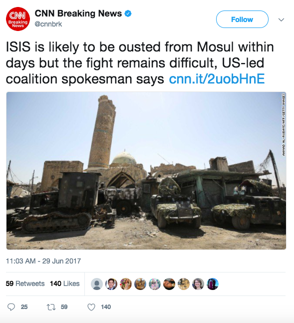 Screen Shot 2017 06 29 at 2.31.25 PM - ISIS caliphate stronghold wiped out as Iraqi Army recaptures mosque in Mosul