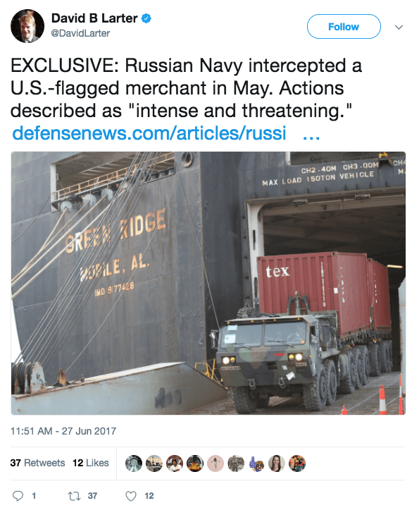 Screen Shot 2017 06 30 at 12.10.12 PM - Report: Russia initiated 'intense & threatening' encounter with US-flagged merchant ship in the Baltic Sea