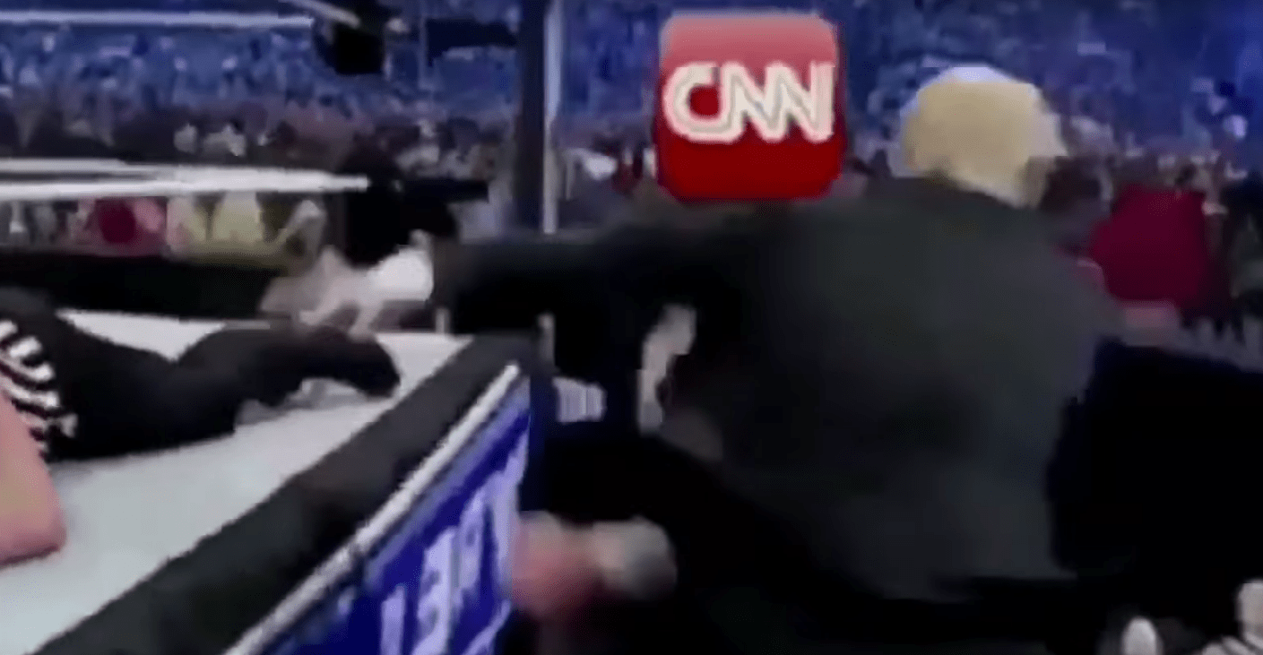 President Trump tweets video of himself bodyslamming CNN at Wrestlemania Featured