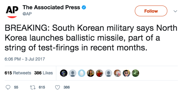 Screen Shot 2017 07 03 at 9.34.08 PM - BREAKING: North Korea fires a ballistic missile off the coast of Korean Peninsula, South Korea reports