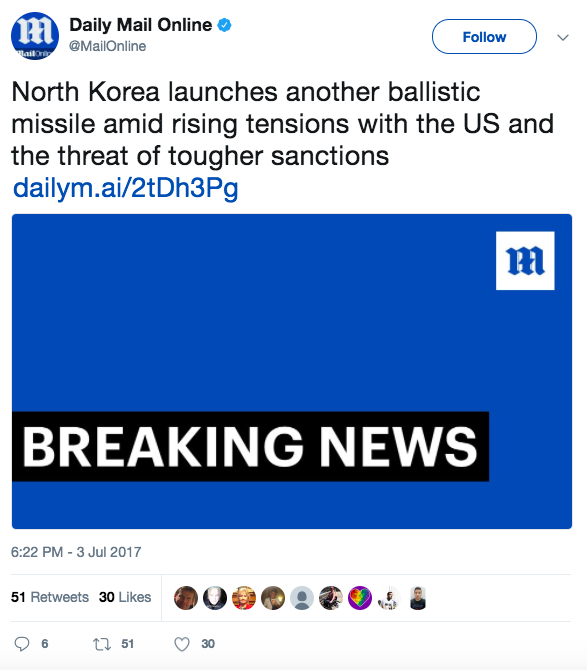 Screen Shot 2017 07 03 at 9.34.20 PM - BREAKING: North Korea claims to have fired its first intercontinental ballistic missile (ICBM) off the coast of Korean Peninsula