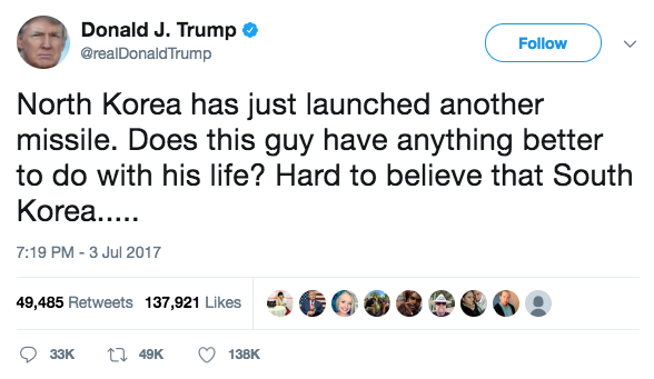 Screen Shot 2017 07 05 at 12.39.24 PM - Trump fires back at North Korea after ICBM launch: 'Does this guy have anything better to do?'