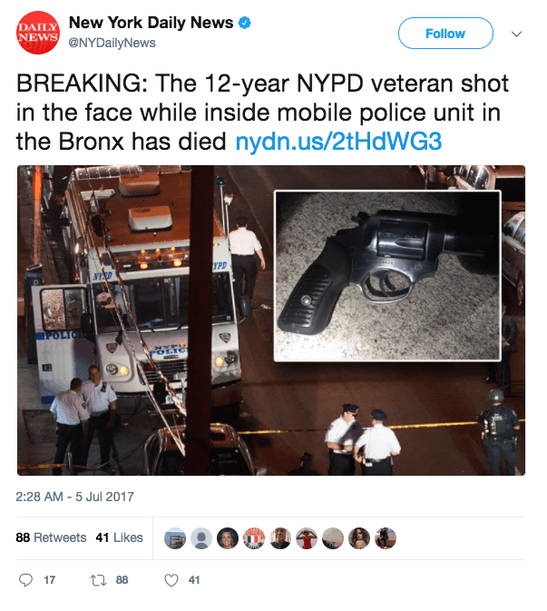 Screen Shot 2017 07 05 at 9.38.01 AM - NYPD cop 'assassinated' in cold blood in marked police vehicle in the Bronx