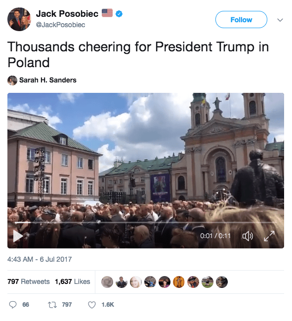 Screen Shot 2017 07 06 at 10.04.09 AM - Crowd chants 'USA' and 'Donald Trump' during President's Warsaw visit