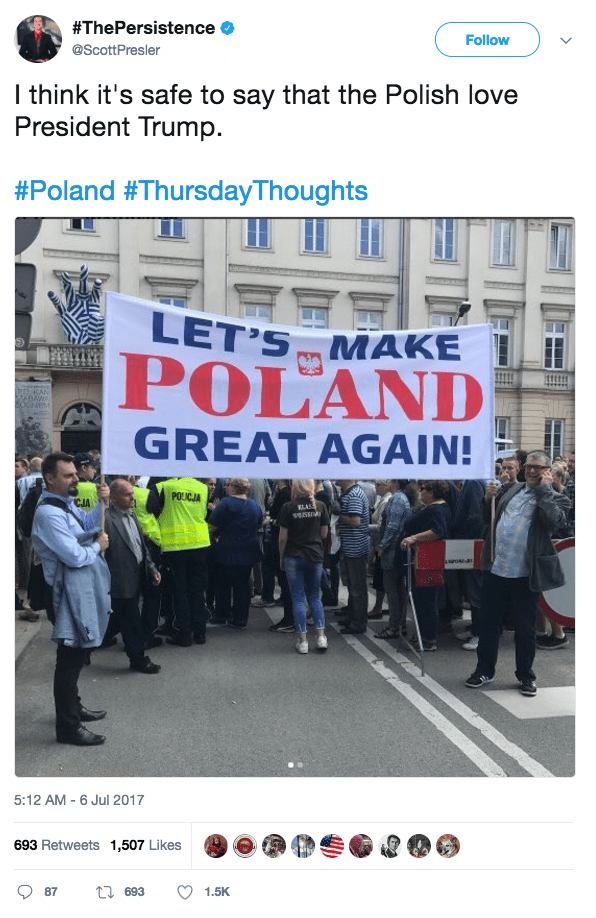 Screen Shot 2017 07 06 at 10.04.29 AM - Crowd chants 'USA' and 'Donald Trump' during President's Warsaw visit