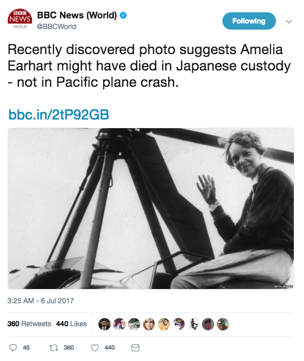 Screen Shot 2017 07 07 at 1.35.21 PM - New photo shows Amelia Earhart might have survived crash & had been captured by Japanese military