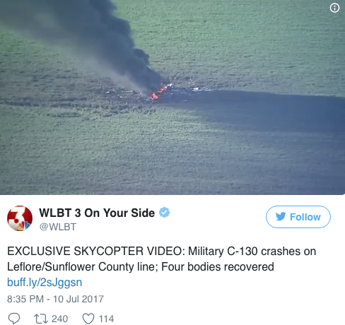 Screen Shot 2017 07 10 at 11.45.59 PM - 16 dead after US Marine plane crash in Mississippi due to possible mid air explosion