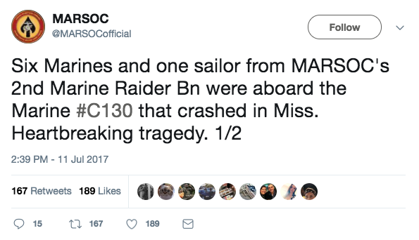 Screen Shot 2017 07 11 at 3.50.30 PM - Six MARSOC Marine Raiders among the 16 dead after KC-130 plane crash in Mississippi