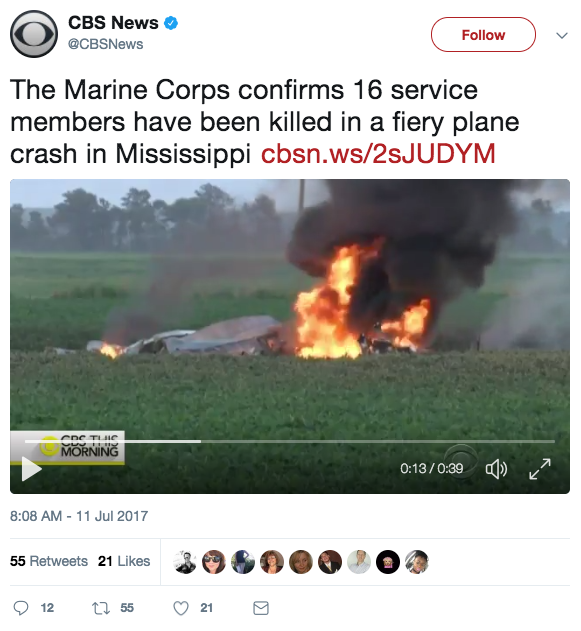 Screen Shot 2017 07 11 at 8.24.33 AM - 16 service members dead after possible mid-air explosion caused Marine refueling plane crash in Mississippi
