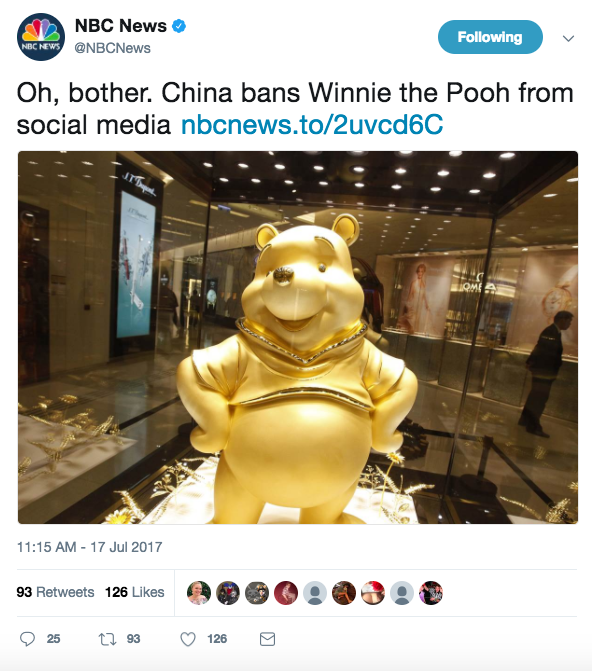 Screen Shot 2017 07 17 at 1.41.57 PM - China bans & 'blacklists' Winnie the Pooh after new memes compare him to Chinese President