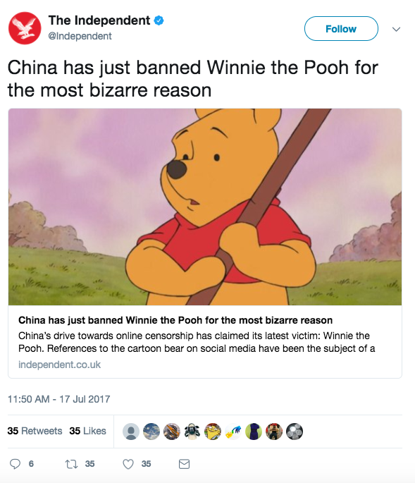 Screen Shot 2017 07 17 at 1.42.12 PM - China bans & 'blacklists' Winnie the Pooh after new memes compare him to Chinese President