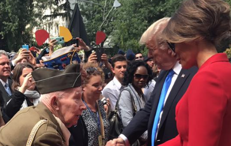 Screen Shot 2017 07 19 at 2.16.20 PM - Trump enters crowd to shake hands of American WWII vets during speech in France