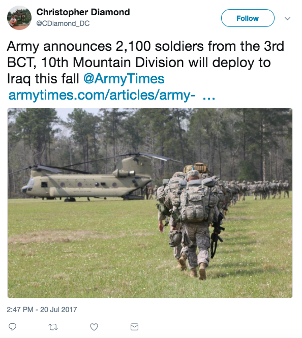 Screen Shot 2017 07 24 at 12.31.50 PM - Army says 2,100 soldiers will deploy to Iraq this fall