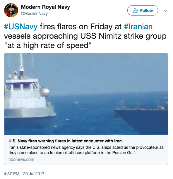 Screen Shot 2017 07 31 at 10.59.26 AM - Iranian ships charge at USS Nimitz strike group in Persian Gulf; US fires flares; Iran complains