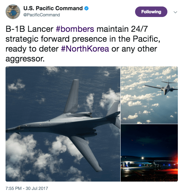 Screen Shot 2017 07 31 at 9.38.12 AM - US sends B-1B bombers over Korean Peninsula after North Korea's ICBM launch, US is ready with 'lethal and rapid force'