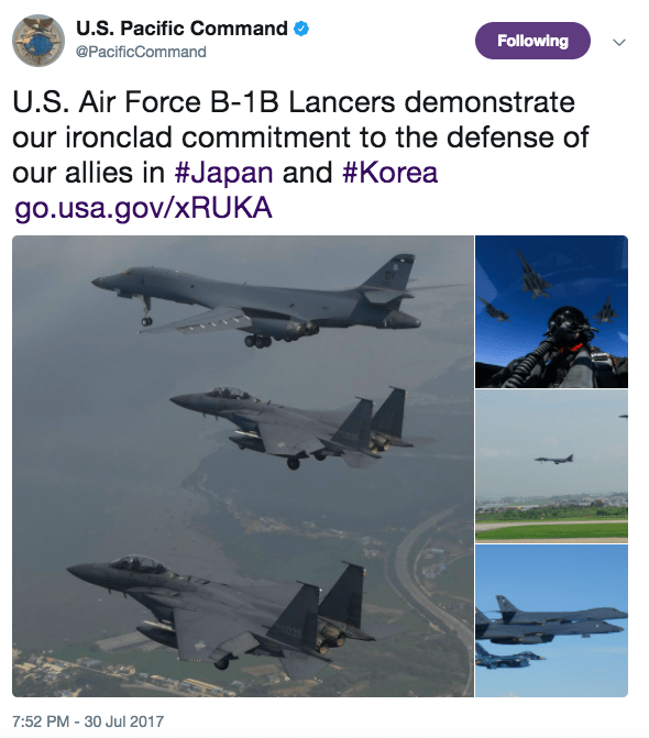 Screen Shot 2017 07 31 at 9.39.48 AM - US sends B-1B bombers over Korean Peninsula after North Korea's ICBM launch, US is ready with 'lethal and rapid force'
