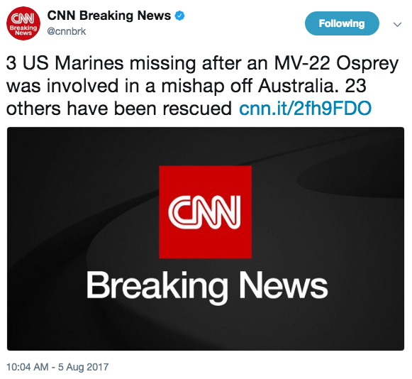 Screen Shot 2017 08 05 at 10.18.40 AM - 3 US Marines missing after MV-22 'mishap' off coast of Australia