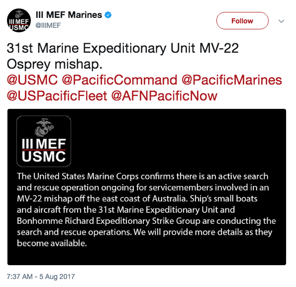 Screen Shot 2017 08 05 at 10.19.07 AM - 3 US Marines missing after MV-22 'mishap' off coast of Australia