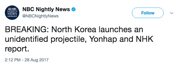 Screen Shot 2017 08 28 at 5.16.13 PM - North Korea has launched a missile off its east coast, reports say