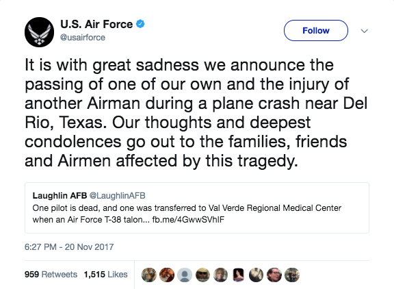 Screen Shot 2017 11 21 at 10.19.16 AM - Air Force pilot killed, another injured after T-38 crashes in Texas