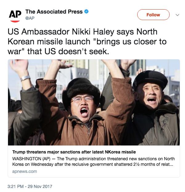 Screen Shot 2017 11 29 at 6.44.13 PM - War with North Korea 'closer' after latest missile launch, UN Ambassador Nikki Haley says