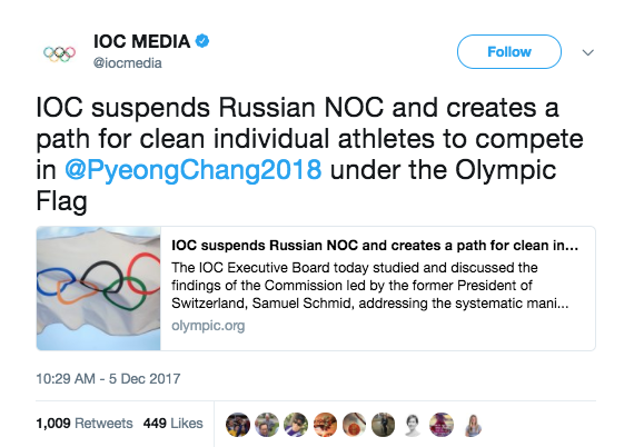 Screen Shot 2017 12 05 at 2.06.34 PM - Russia has been banned from 2018 Winter Olympics over doping program