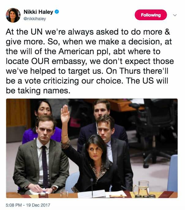 Screen Shot 2017 12 20 at 9.12.21 AM - Nikki Haley unleashes her two most savage tweets yet