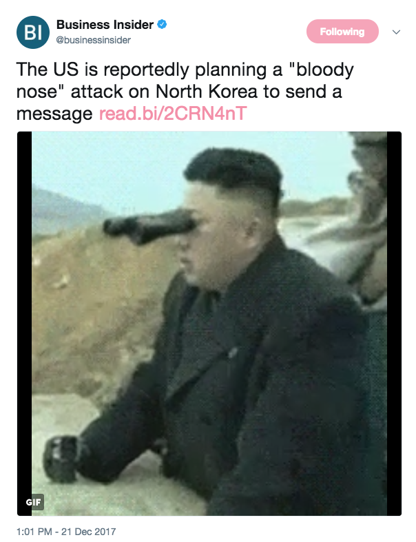 Screen Shot 2017 12 21 at 1.25.02 PM - US is planning 'bloody nose' military attack on North Korea, report says