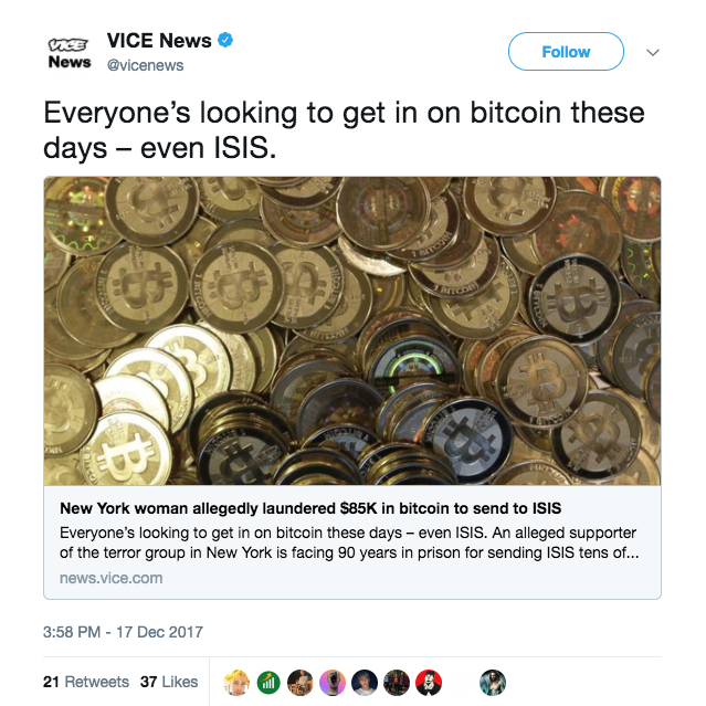 Screen Shot 2017 12 21 at 1.50.07 PM - Woman faces up to 90 years in prison for sending $85,000 in Bitcoin to ISIS
