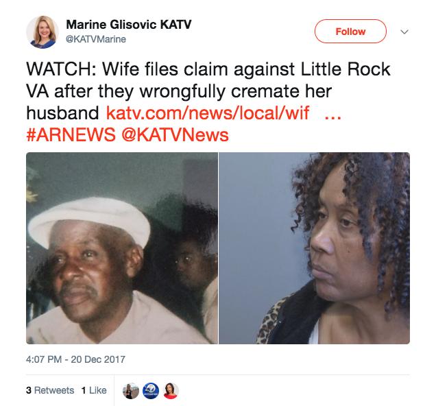 Screen Shot 2017 12 21 at 11.06.46 AM - Navy veteran's wife claims VA wrongfully cremated husband