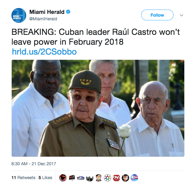 Screen Shot 2017 12 21 at 12.24.31 PM - Cuban leader Raul Castro is stepping down in April