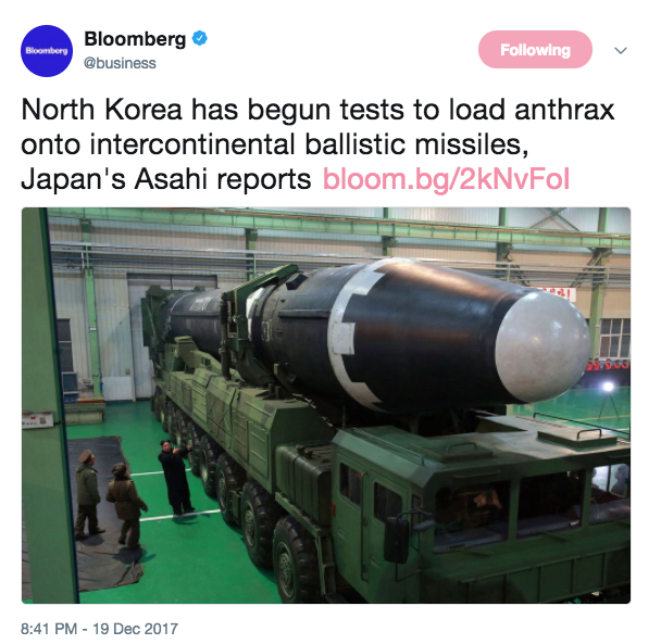 North Korea wants to hit United States with Anthrax-tipped missile