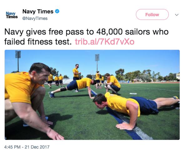 Screen Shot 2017 12 22 at 10.22.45 AM - Navy gives 48,000 sailors 'fitness pardon' who can't meet fitness demands