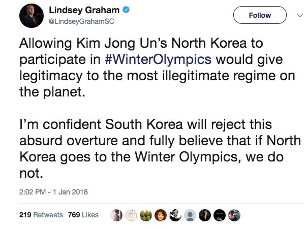 Screen Shot 2018 01 02 at 10.42.53 AM - Sen. Lindsey Graham says US should boycott Winter Olympics if North Korea attends